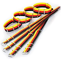 Eichmüller Perlon Band Nylon Fabric Band Germany 18 mm Black/Red/Yellow