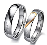#7: YELLOW CHIMES Lovers Heart 'Real Love' Stainless Steel Proposal Couple Rings for Girls and Boys