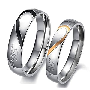 Lovers Heart Engraved 'Real Love' Proposal Couple Rings for Girls and Boys by YELLOW CHIMES