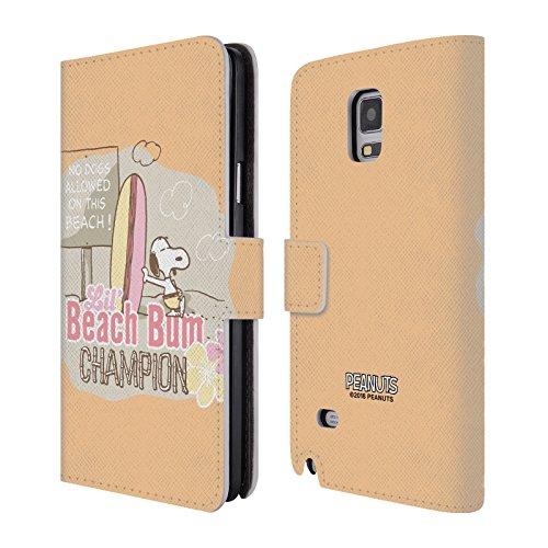Head Case Designs Offizielle Peanuts Champion Auf Dem Strand Gammeln Mit Snoopy Leder Brieftaschen Huelle kompatibel mit Samsung Galaxy Note 4 (Galaxy Hülle Samsung Note 4 Snoopy)