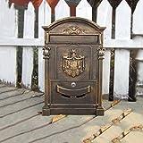 QAR Briefkastenschmiedeeiserner Briefkasten Der Europäischen Landhausbriefkastenaußenseite Mit Schlosspostbox-Retro- Zeitungskasten Briefkasten