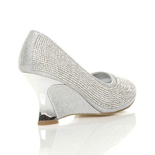 Femmes haute arrondie talon compensées moyen chaussures escarpins pointure Argent