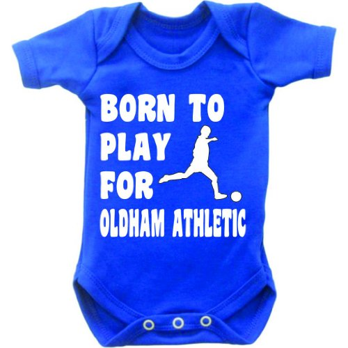 Born To Play Football For Oldham Athletic Short Sleeved Baby Bodysuit Romper Vest Grow In Royal Blue & White Motif