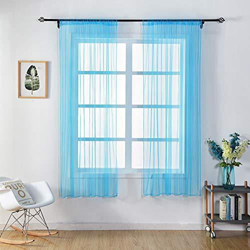 ToDIDAF Transparente Einfarbige Gardine/Vorhang, Tüll-Fenster-Behandlung, Voile-Volant, 1 Stoffbahn, für Zuhause/Wohnzimmer/Schlafzimmer Dekoration, Mehrfarben, 150 cm x 100 cm (F) (Baby-jungen-fenster Volant)