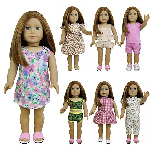 ZITA ELEMENT 7er Daily Casual Puppen Kleidung Kleider Outfits für American 18 Zoll Girl Doll 43cm 45-46 cm Puppen Bekleidung Puppenkleider (Kleider Für American Girl-puppen)