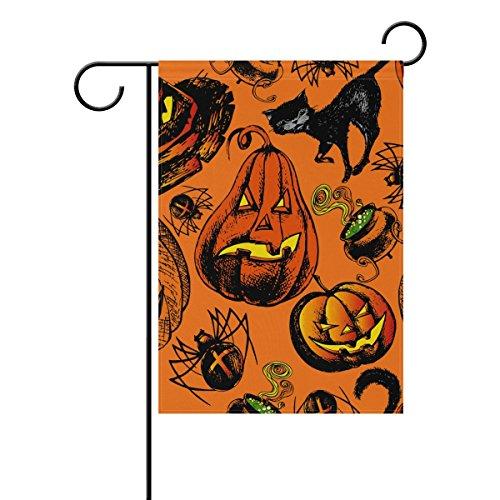 (Doppelseitig Halloween Spooky Kürbis schwarz Katze hat und Spider Polyester HAUS/Garten Flagge Banner 12x 18/71,1x 101,6cm für Hochzeit Party alle Wetter)