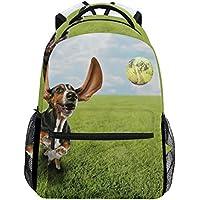 TIZORAX Basset Hound perro persiguiendo pelota de tenis mochila escolar bolsa de libros senderismo viaje mochila