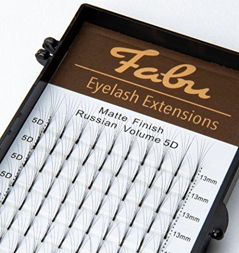 Fabu - extension per ciglia dal volume russo, 5d, a ciuffetti, per curve a forma di d, 0,07 mm di spessore, lunghezze disponibili: 8mm, 9mm, 10mm, 11mm, 12mm, 13mm, 14mm e 15mm.