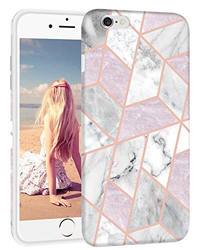 iPhone 6S Schutzhülle, imikokotm Schmalem Matt TPU Transparent Bumper Flexible Gummi Silikon Dünn Schutzhülle Handy Schutzhülle für iPhone 6S, Marble