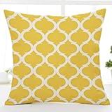 Kissenbezug mit geometrischem Muster, aus Leinen, 45cm x 45cm gelb