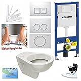 Geberit Duofix Vorwandelement UP 100 + Design WC mit LotusClean Beschichtung + Absenkautomatik + Delta 21 Drückerplatte + WC Deckel