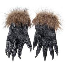 EnGive máscara de Halloween máscaras de terror del hombre lobo Deco (guantes hombre lobo)