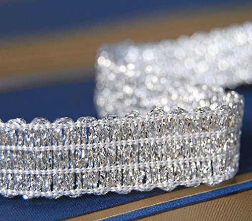 Metallisiertes Zierband Länge 3,0 m / Breite 6 mm / Farbe Silber / Posamentenborte Brokatborten Dekoborte Bordüre Brokat Lurex Goldborte...