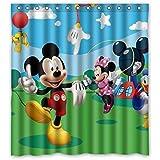 Custom Cartoon Mickey Mouse Pattern Waterproof Bathroom Shower Curtain 100% Polyester Fabric Shower Curtain Standard Size 66 X 72