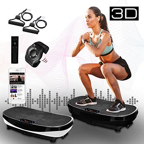 XPLON Vibrationsplatte 3D VPM030 Vibration Platte Vibrationstrainer Vibrationsgerät Leistungsstark 2 Motoren Trainingsbänder Curved Design Riesige Fläche 99 Stuffen Bluetooth Musik Touch schwarz