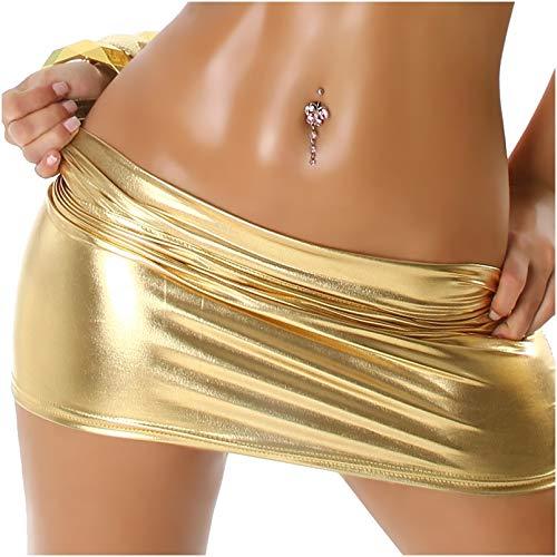 Jela London Damen Mini-Rock Wetlook Micro Latex-Optik Glanz metallic GoGo Rock kurz, Gold 34 36 38