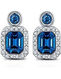 Peora Swarovski Element Divine Angelic Blue Hues Designer Geometric Statement Crystal Earrings For Women
