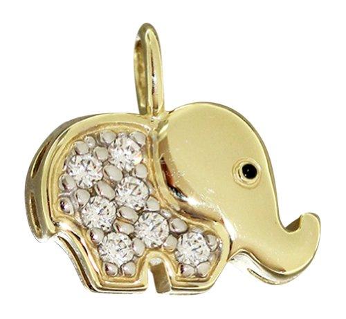 Hobra-colgante másbonito colgante de elefante oro 750 zirconias oro Elefant colgante con