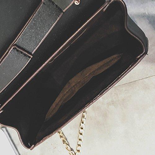 ZPFME Frauen Umhängetaschen PU Party Retro Bankett Mode Kette Umhängetasche Damen Tasche Black