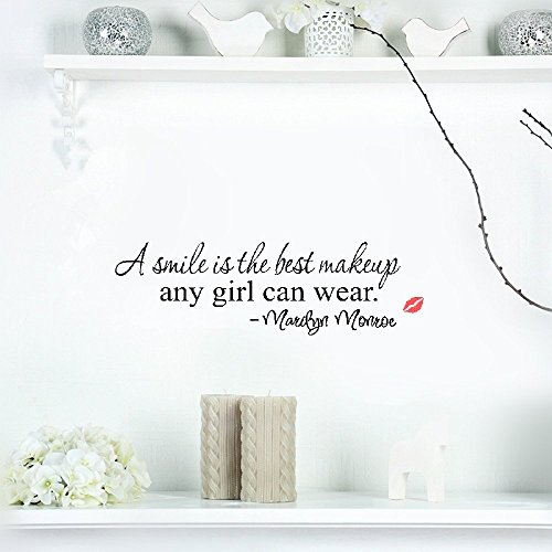 6aebcf9e4d adesivo murale motivational wall sticker quotes A Smile Is The Best Makeup Marilyn  Monroe Quotes Wall