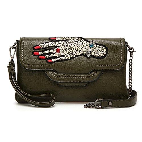 Sommer-neue Handtaschen-Schulter-Beutel-Kurier-Beutel-kleines Paket-Art- Und Weisewilde Paket Darkgreen