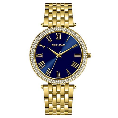 amen Armbanduhr römischen Ziffern alle Edelstahl Gold und Blau Zwei Tone Kleid Armbanduhr mit Swarovski Kristall für Frauen Damen Mädchen auf Verkauf (Kleider Auf Verkauf Für Kinder)