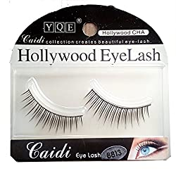HOLLYWOOD EYELASH 1 Pair Black Natural Thick Long False Eyelashes with Adhesive - 8813