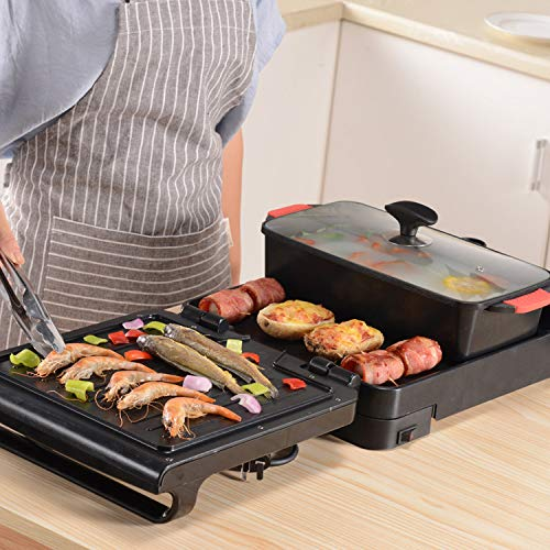 Parrilla Eléctrica 3 En 1 Hot Pot BBQ Plegable Multifuncional Coreana Sin Humo Antiadherente 67 * 29 * 10cm 1500W,Black-67 * 29 * 10cm