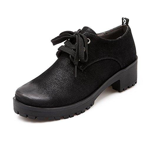AgooLar Femme Lacet Rond à Talon Correct Pu Cuir Couleur Unie Chaussures Légeres Noir
