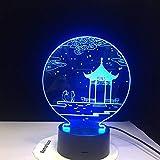 Ancient Pavilion 3D Lampe Tischlampe 7 Farben Ersatz Tischlampe 3D Lampe Neuheit führte Nachtlicht Pavillon Parlament 1 Regler