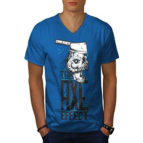 wellcoda AXT Bewirken Kopf Schädel Männer 2XL V-Ausschnitt T-Shirt