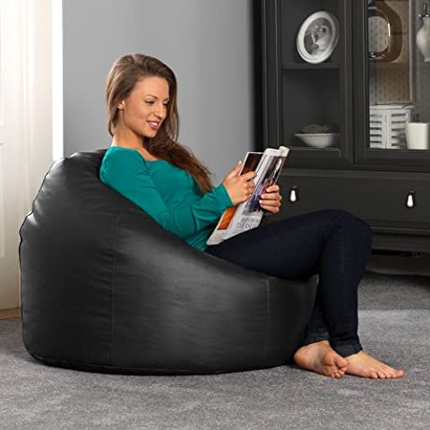 Bean Bag Bazaar® Luxury Faux Leather Panelled XL Bean Bag Chair - BLACK Extra Large Bean Bags