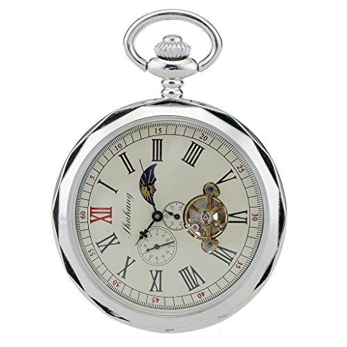 TREEWETO Taschenuhr mit Kette Herren Analog Handaufzug 24 Stunden Sonne Mond Anzeige Silber