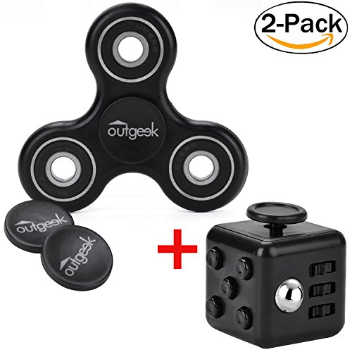 2 Pack Stress Release Toys Set,Outgeek High Speed Tri-Spinner with Anti-Anxiety Fidget Dice Perfect for ADD / ADHD / Anxiety / Autism And Stress Relief Adult Children,Office Desk Gadget(Black)