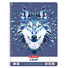 Herlitz 50027262 Flex Notebook with Removable Cover, A4, 2 x 40 Sheets, Design: Wild Animals Wolf, 1 Item Block A4 Lin. 27 Wolf