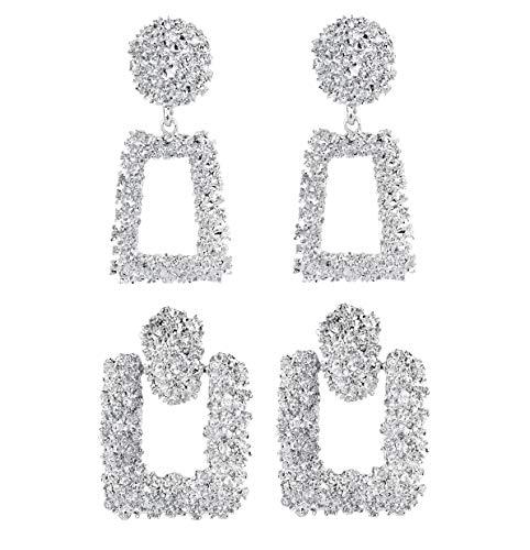 Sailimue 2 Paare Geometrische Trapezförmige Drop Ohrringe für Damen Mädchen Statement Ohrringe Große Lange Auffällige Ohrringe Modeschmuck Ohrringe (Bollywood Paare Kostüm)