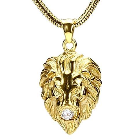 Daesar Schmuck Edelstahl Halsketten Herren Anhänger Halsketten Lion Kopf Zirkonia Gold Halsketten