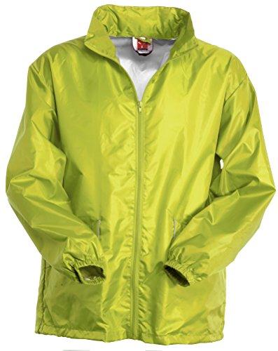 K-way Uomo Richiudibile con Cappuccio a Scomparsa Polsi con Elastico e Tasche Zip con Profilo Reflex Payper Wind Verde acido