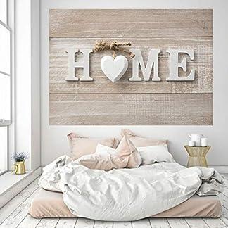 murimage Papel Pintado Home 3D 183 x 127 cm corazón casa hogar madera escudo shabby chic sala de estar histórico viejo países worldmap Vintage Fotomurales Incluye Pegamento