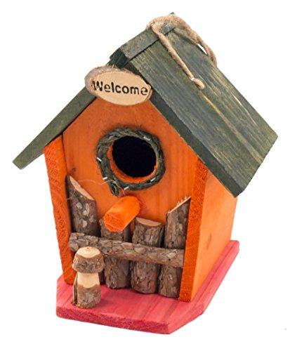 Vogel-Nisthöhle bunt aus Holz 16x14x18 cm