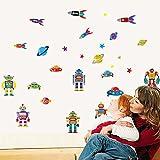 Wallpark Garçons Dessin animé Robots Roquette Volant Soucoupe Amovible Stickers Muraux Autocollants, Enfants Bébé Chambre Pépinière DIY Décoratif Adhésif Stickers Mural