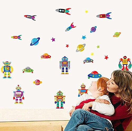 Wallpark Jungen Karikatur Roboter Rakete Fliegend Untertasse Abnehmbare Wandsticker Wandtattoo, Kinder Kids Baby Hause Zimmer Kinderzimmer DIY Dekorativ Klebstoff Kunst Wandaufkleber (Zimmer Jungen Roboter)