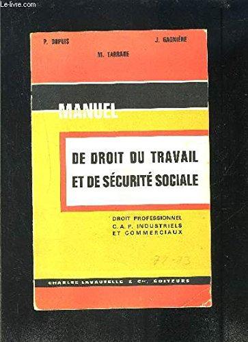 MANUEL DE DROIT DU TRAVAIL ET DE SECURITE SOCIALE- DROIT PROFESSIONNEL CAP INDUSTRIELS ET COMMERCIAUX- SPECIMEN