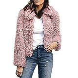 Xmiral Damen Mantel Frauen Warme Künstliche Wolle Reine Farbe Revers Jacke Winter Parka Oberbekleidung (S,Rosa)