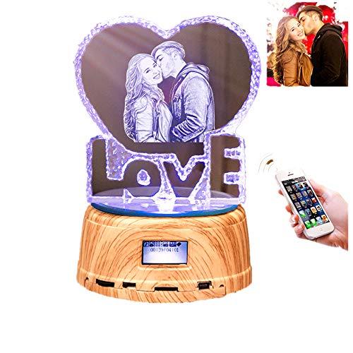 Personalizado Photo Night Light Bluetooth Led Color de la lámpara que cambia el regalo de Navidad del reproductor de música para mujeres