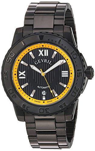 Gevril seacloud para hombre Swiss automático reloj de pulsera de acero inoxidable, Negro (modelo: 3112b)