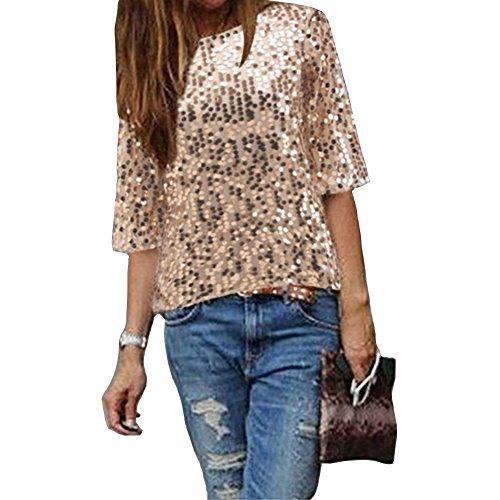 Damen Bluse IHRKleid® Frauen Strapless Pailletten beiläufige lose T-Shirt Tops Langarm weg von der Schulter Hemd Bluse (XL, - Gold-pailletten-shirt