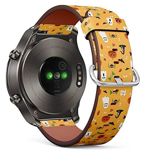 mit für Huawei Watch 2 Classic - Leder-Armband Uhrenarmband Ersatzarmbänder mit Schnellverschluss (Halloween-Postkarte) ()