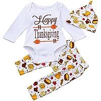 Baby Winteroverall Kinderstrumpfhosen Hirolan Säugling Mädchen Weihnachten Spielanzug Tops Lange Hose Lebensmittel Drucken Hut Glücklich das Erntedankfest Tag Outfits Set