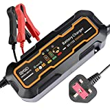 Battery Charger,12V/6V 5A Car Battery Charger Maintainer with Automatic Portable Battery 3-Steps Charging